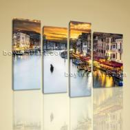 Large Canvas Prints Stretched Wall Art Venice Night Scene