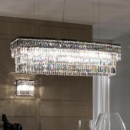 Large Italian Contemporary Chrome Glass Pendant Chandelier