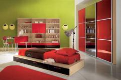 Large Kids Bedroom Design Red Bed Brown Quilt