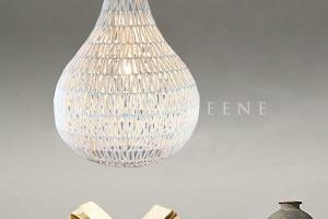 Large Pendant Light White Rope Pear Shape Hanging Lamp