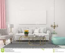 Light Living Room White Pastel Colors Stock