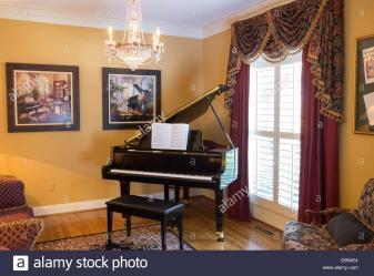 Luxury Home Interior Room Grand Piano Stock