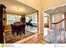 Luxury House Interior Open Floor Plan Stock