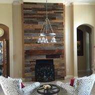 Lynns Reclaimed Wood Accent Wall Custom Mantle