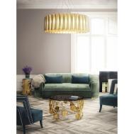 Manor Cotton Velvet Upholstered Matte Brass Sofa