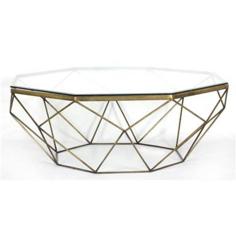 Marlow Geometric Coffee Table Antique Brass