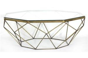 Marlow Geometric Coffee Table Antique Brass