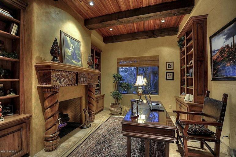 Mediterranean Home Office Built Bookshelf High
