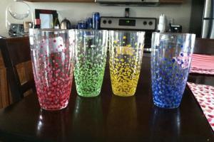 Meg Joins Navy Diy Speckled Drinking Glasses