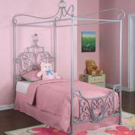 Mesmerizing Silver Iron Canopy Twin Princess Bed