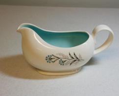 Mid Century Gravy Boat Cream Ceramic Blue