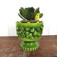 Mid Century Modern Ceramic Bright Green Planter Molded Fruit