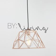 Minimal Copper Geometric Wire Cage Pendant Light Cafe Loft
