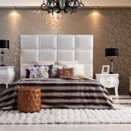 Modern High Headboard Bed Black Crystal Chandeliers
