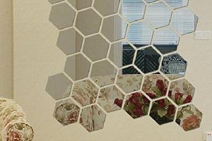 Modern Piece Mirror Geometric Hexagon Diy Mural Wall