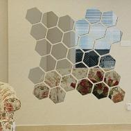 Modern Piece Mirror Geometric Hexagon Diy Mural Wall