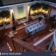 Modern Roof Garden Decking Glass Water Feature