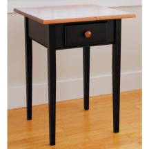 Modern Square Black Laminate Wooden End Table Cream