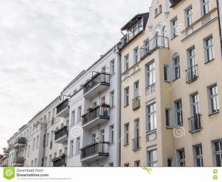 Modern Urban Apartment Building Facades Stock