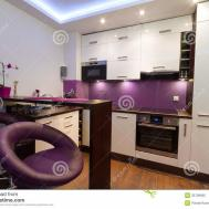 Modern White Purple Kitchen Royalty Stock