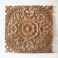Natural Wooden Wall Art Panel Thailand Siam Sawadee