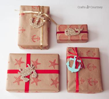 Nautical Inspired Diy Wrapping Paper Mod Podge Rocks