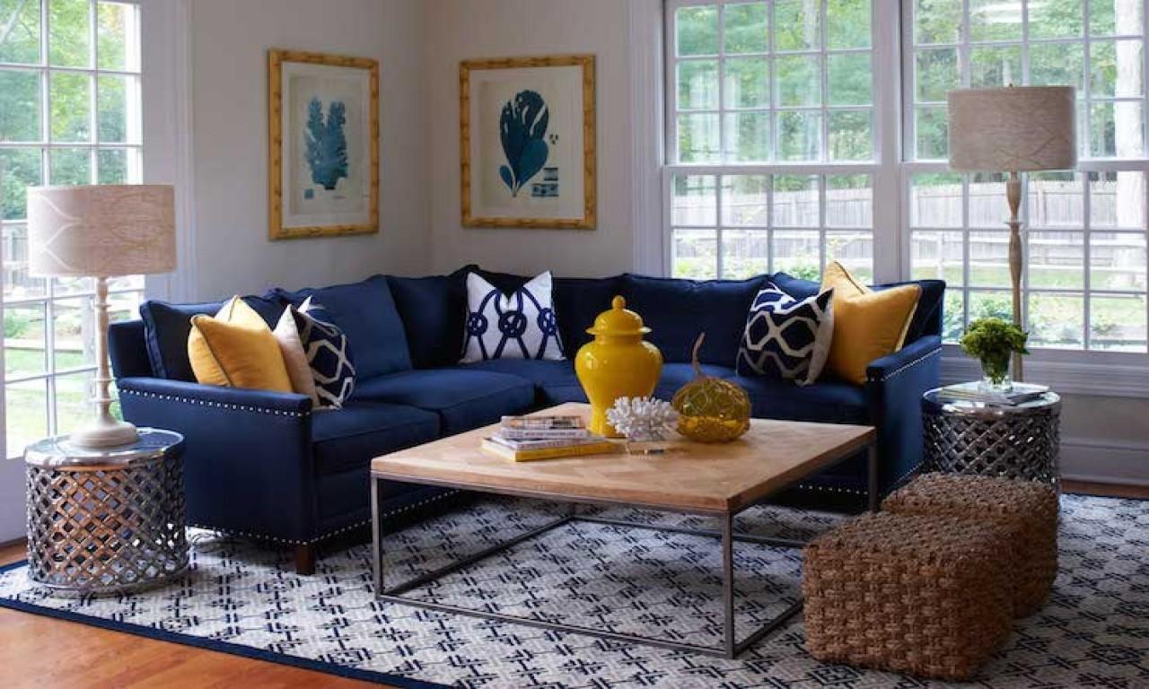 Navy Blue Yellow Grey Living Room Decoratorist 8522