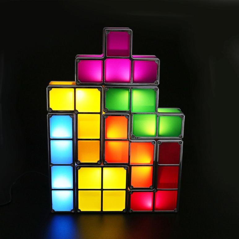 Newest Tetris Led Light Desk Bed Lamp Diy Retro Game Style