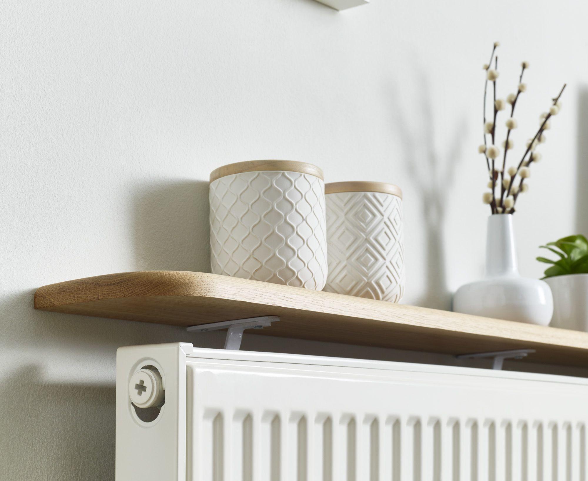 oak radiator shelf floating solid