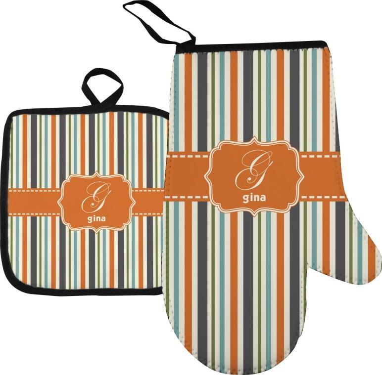 Orange Blue Stripes Oven Mitt Pot Holder Personalized