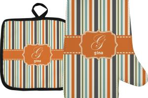 Orange Blue Stripes Oven Mitt Pot Holder Personalized