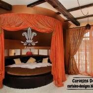 Orange Canopy Bed Modern Bedroom Curtain Design