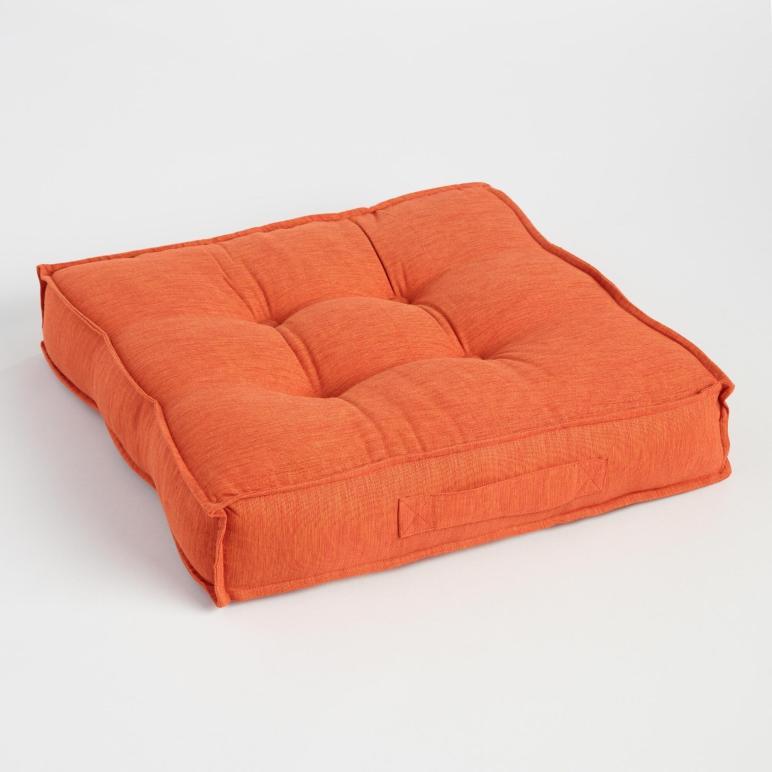 Orange Khadi Tufted Floor Cushion World Market