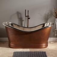 Paige Copper Double Slipper Tub Nickel Interior