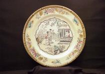 Pair Antique Plates English Ceramic Porcelain Painted