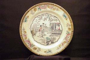 Pair Antique Plates English Ceramic Porcelain Painted