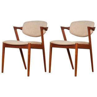 Pair Mid Century Danish Model Teak Dining Chairs