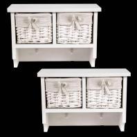 Pair Shabby Chic White Wall Shelves Coat Hooks Wicker