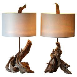 Pair Vintage Driftwood Organic Natural Sculpture Lamps