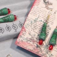 Paper Bead Xmas Tree Earrings