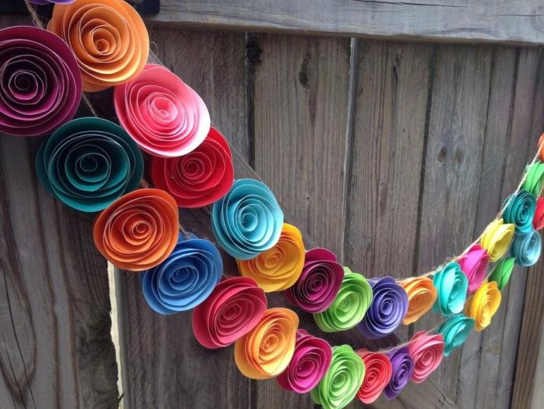 Paper Flower Garland Colorful Neon
