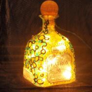 Patron Liquor Bottle Light Hand Painted Hangoutlighting