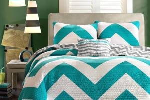 Piece Chevron Pattern Reversible Bedding Girls Quilt Set