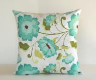 Pillow Cover Roses Spring Turquoise Easter