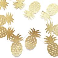 Pineapple Banner Gold Glitter Party