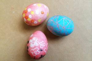 Pink Doormat Crayon Resist Easter Eggs