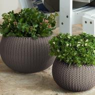 Plant Pot Set Round Planter Flower Garden Decor Resin