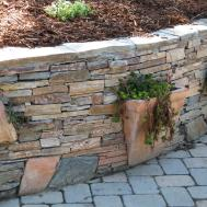 Planters Built Into Stone Wall Gardening Backyard Diy