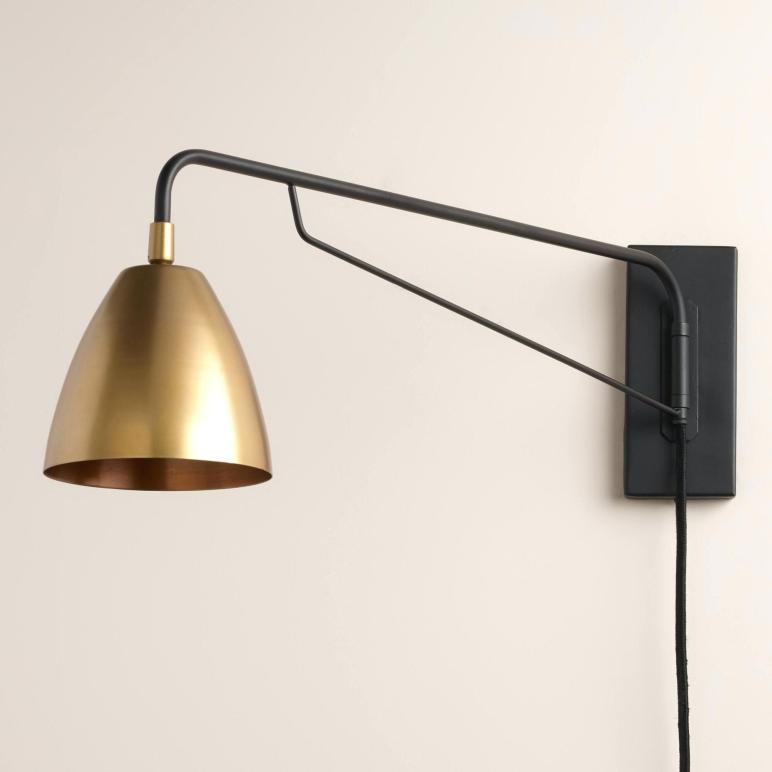 Plug Reading Light Wall Mount Brass Nook Pivoting