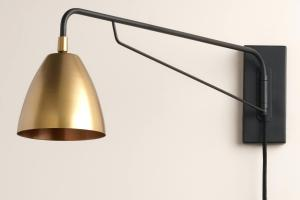 Plug Reading Light Wall Mount Brass Nook Pivoting